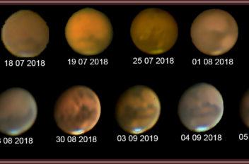 Marte tre mesi di osservazione con vari filtri