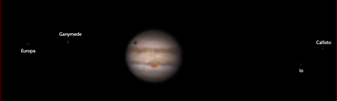 Giove 4 satelliti con proiezione ombra di Ganimede