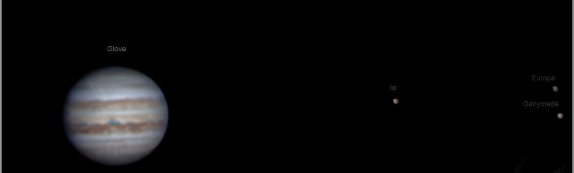 Giove 22 08 2020 con tre Satelliti Io Europa Ganymede