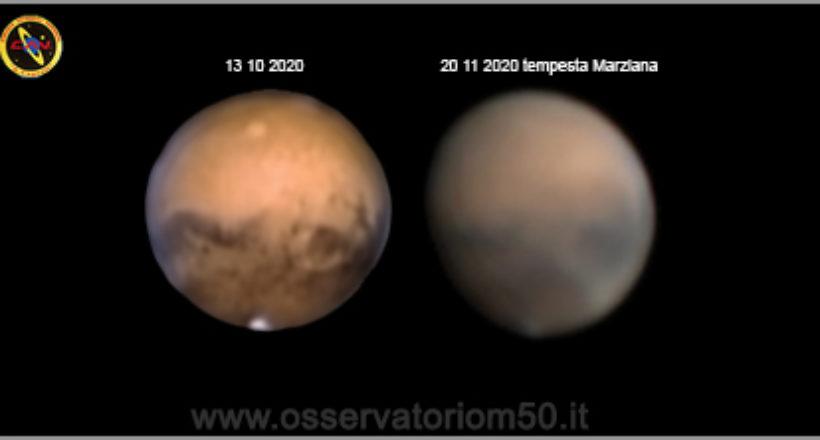 Confronto Marte con tempesta